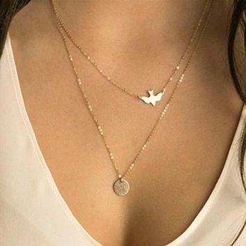 Layers Golden Beautiful Necklace Simple Design Fashion Delicate Bird Long Chain Necklace Jewelry For Girls Gift