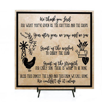 Farmer Prayer Quote Sign, Farmhouse Home Decor Wood Sign, Gift for Mom Birthday, Grandparent Birthday Gift Grandpa, God Farmer Quote Sign