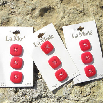 9 Square Red LaMode Buttons on Cards Circa 1960s