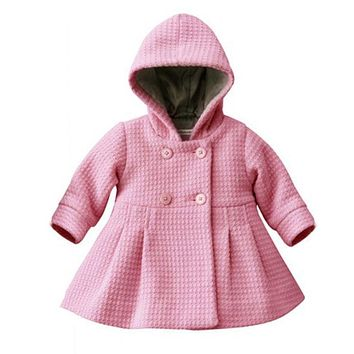 Infant Kids Girls Toddler Warm Fleece Hooded Winter Pea Coat Snow Jacket Kids Clothes