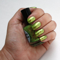 Green glitter nail polish Seaweed by AquaDaisy on Etsy