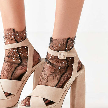 Out From Under Lace Jewel Sock   Urban Outfitters