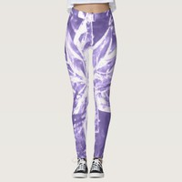 Purple Crystal Star Pattern Leggings