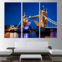 london Skyline wall art Canvas Print, extra large wall art, tower bridge in london wall art, london canvas print art, london night  t244