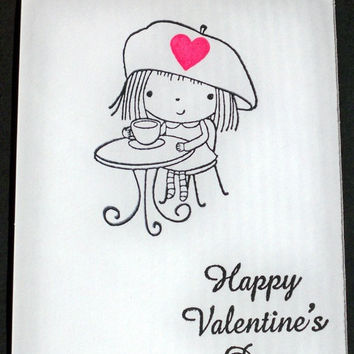Kids Valentines Cards, Kids Card Set, Blank Notecards, Kraft Cardstock Gifts - Handmade Greeting Cards