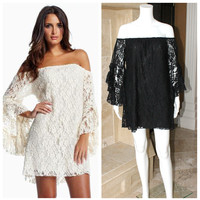 ELAN RESORT 2013 BARCELONA SEXY LACE OFF SHOULDER MINI DRESS OR TUNIC NWT $89