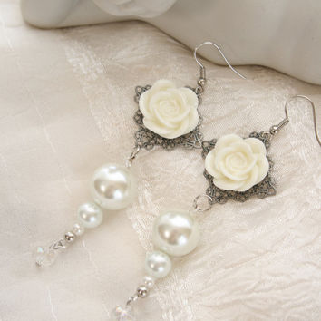 Romantic Cream Cabochon Rose & Faux Pearl by nightowlcreates