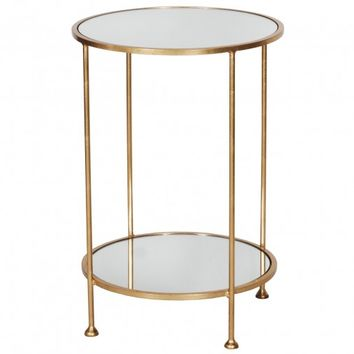 Worlds Away Chico Gold Leaf Side Table