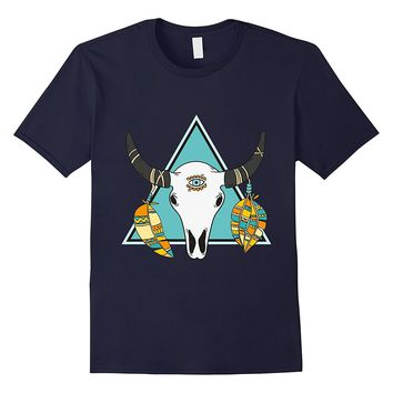 Ethnic Tribal Animal Skull With Horns Third Eye T-Shirt