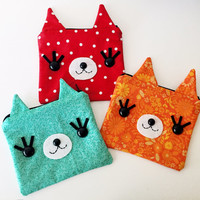 Kitty Cat Zipper Pouch - Your color choice