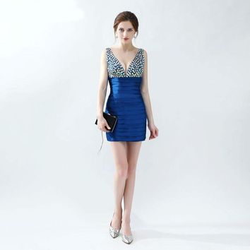 Royal Blue Beaded Crystals V neck Sexy Prom Dresses Satin V Back Bandage Dress Short Prom Gown