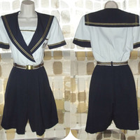 Vintage 80s Sailor Girl Nautical Shorts Romper Pin-Up Paysuit S/M Navy White Gold Culottes VLV