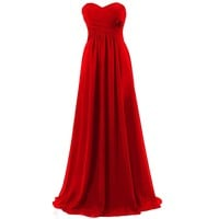 Dresstells Sweetheart Long Prom Dresses Bridesmaid Chiffon Evening Gowns for Women