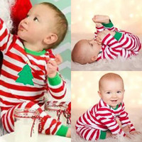 Christmas Baby Kids Boys Girls Sleepwear Striped Nightwear Pajamas Set Sleepwear Boy Girl 2-6 Years