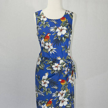 Vintage Hawaiian Sarong Dress Blue Parrot Mini Aloha Sundress L
