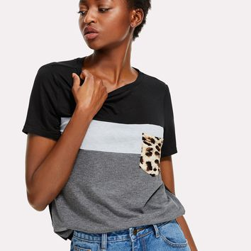 Cut And Sew Leopard Pocket Patched Top
