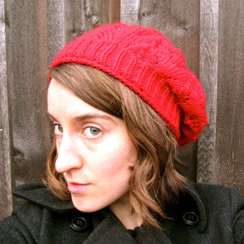 Red Slouchy Beanie Beret Style Womens Hat by GretaHoneycutt