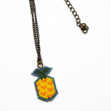 Beaded Pineapple Artisan Necklace On Adjustable Antiqued Chain