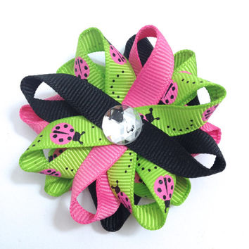 "Ladybugs 2.5"" Handmade Hair Bows - Pink, Green & Black Hairbows - No Slip Alligator Clip or French Barrette - Made To Order"