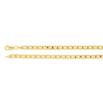 3.5mm 14k Yellow Gold Solid Anchor Chain Necklace