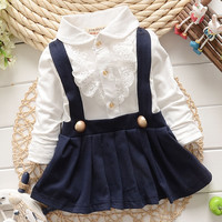 2017 Baby Grils Dress Long Sleeve Braces Cotton Cute Mini Above Knee Princess Casual girl dress
