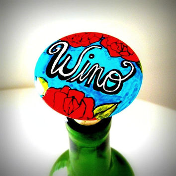 Ceramic Wine Stopper Wino Flowers Bottle Stopper Red Roses Turquoise Purple Black White Hand Painted Knob - READY TO SHIP