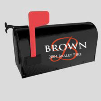 Mailbox Decal with Name, Initial and Address in 2 color durable vinyl