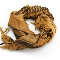 100% Cotton Premium Arab Shemagh Tactical Desert Scarf for Men or Women Tan & Black