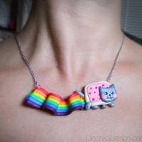 Nyan Cat Necklace, Geek, Internet Meme, Polymer Clay