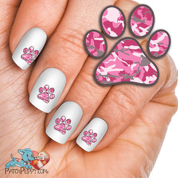 Pink Camo Paw Print - Nail Art Decals (Now! 50% more FREE)