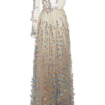 Tulle Embroidered Floral And Pearl Long Dress | Moda Operandi