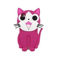 Leegoal Cute 3D Cartoon Cat Animal Silicone Case Cover for iPhone 4 4S Rose