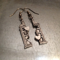 Phone Booth Double Heart Friendship Earrings