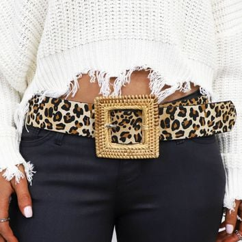 No Sleep Leopard Square Straw Buckle Belt