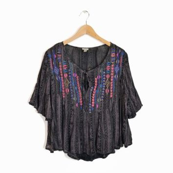 ECOTE Urban Outfitters Embroidered Boho Peasant Blouse Tribal GeometricTop - L