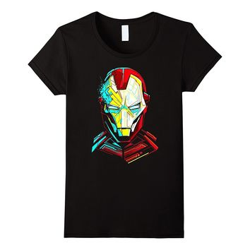 Marvel Iron Man Impressive Cubism Mugshot Graphic T-Shirt