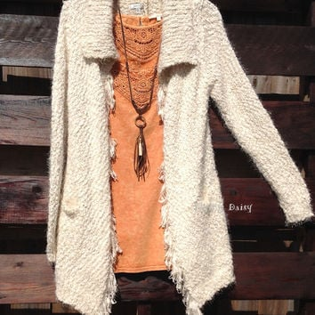 Shaggy Fringe Sweater Cardigan