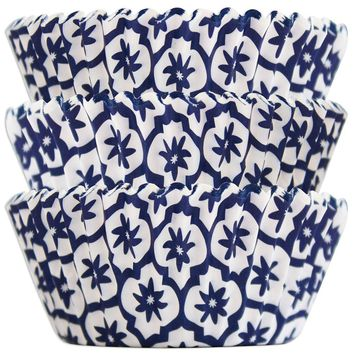 Navy Blue Moroccan Print Baking Cups