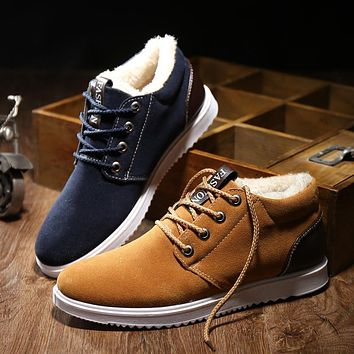 Hot 2017 Winter Boots Men's Casual Shoes Boots Plus Velvet Warm Shoes Help Low Suede Shoes