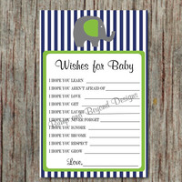 Baby Shower Game Printable Dear Baby Wishes for Baby Advice Game Instant Download Elephant Navy Blue Lime Green Boy Baby Shower Game diy 39