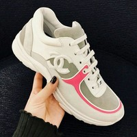 Chanel New Fashion Women Fashion Leather Sneakers Sport Shoes Pink Edge