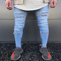 Fashion Design Brand New Men Blue Jeans Skinny Ripped Stretch Slim Fashion Hip Hop  Man Casual Denim Biker Zipper Pants  Jogger