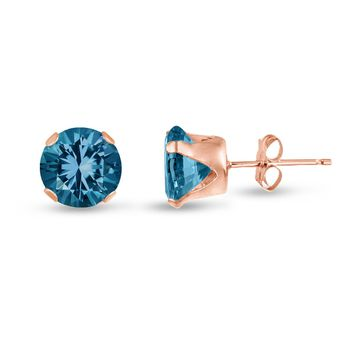 Rose Gold Plated Silver Stud Earrings Round London Blue Topaz CZ ~ December