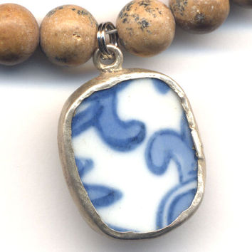 Porcelain Pendant on Picture Jasper Necklace, Antique White and Blue Pottery Pendant, Jasper Necklace, Handmade Jewelry by AnnaArt72
