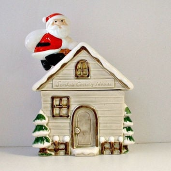 Otagiri Santa's Candy House Cookie Candy Jar Canister Vintage 1970's Japan