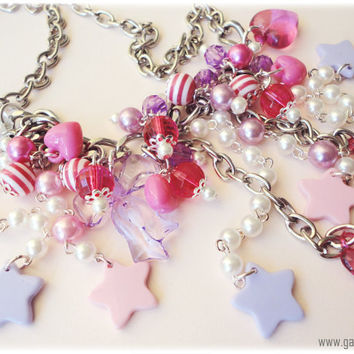 Pink and Lavender Stars Chunky Silver Chain Bib Necklace by ykonna