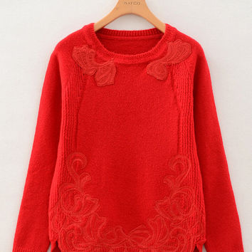 Embroidered Long Sleeve Sweater