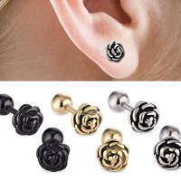 316L stainless steel Rose Earring Stud, Tragus Jewelry, Cartilage Piercing, Conch Piercing