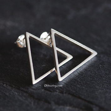 Sterling Silver Triangle Stud Earrings, Geometric Earrings, Triangle Studs, Sterling Silver jewelry, Simple Earrings, Ready to Ship!