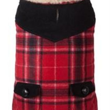 Red Wool Plaid Shearling Jacket